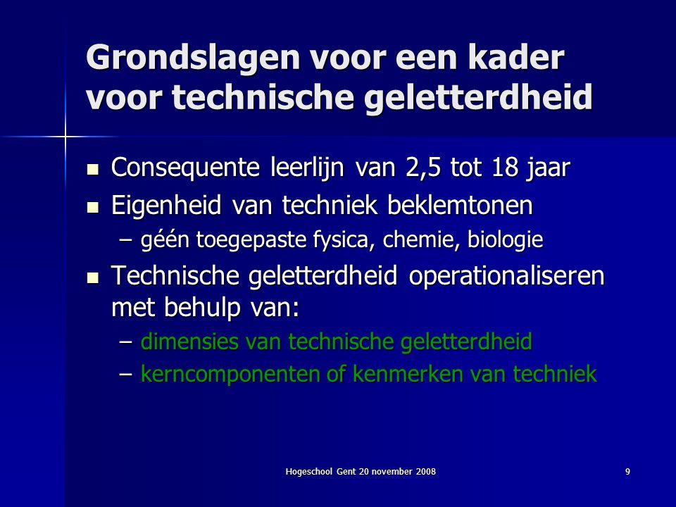 Hogeschool Gent 20 november 20089 Grondslagen voor een kader voor technische geletterdheid Consequente leerlijn van 2,5 tot 18 jaar Consequente leerli