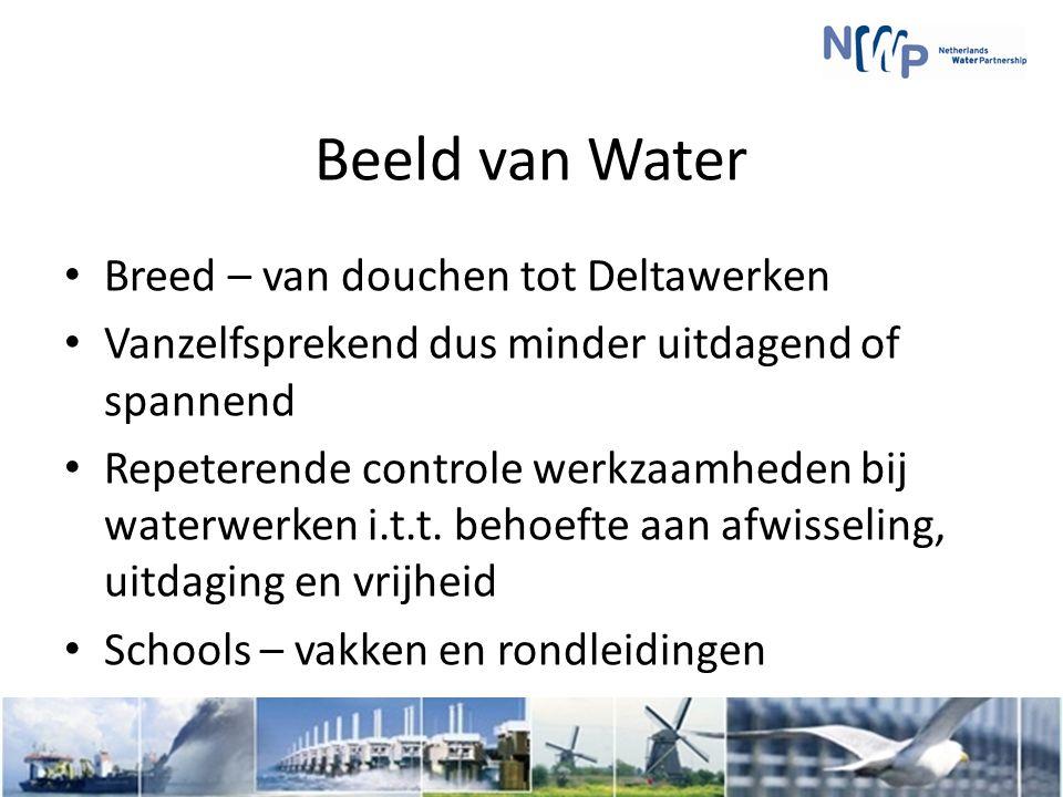 Beeld van Water Breed – van douchen tot Deltawerken Vanzelfsprekend dus minder uitdagend of spannend Repeterende controle werkzaamheden bij waterwerken i.t.t.