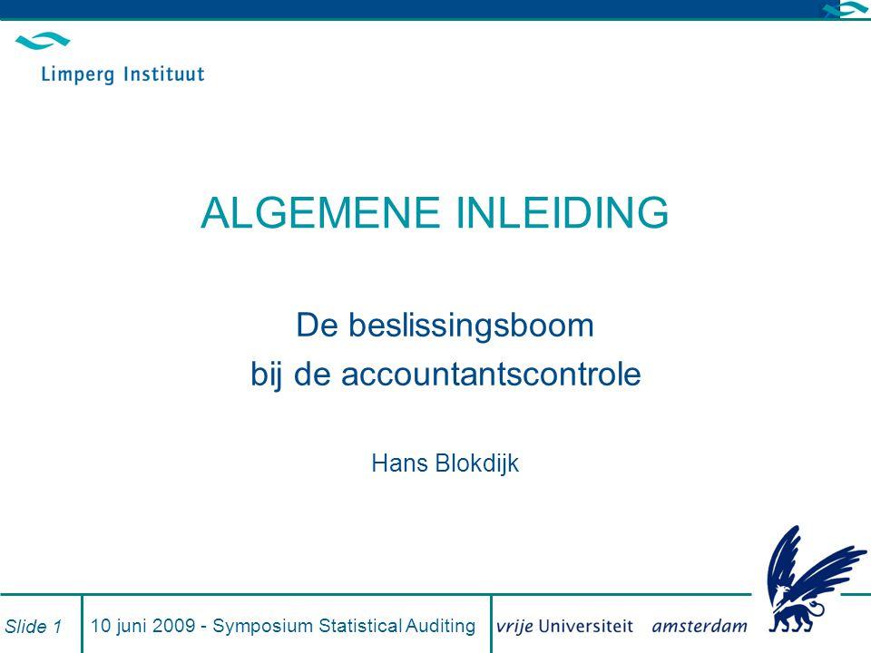 10 juni 2009 - Symposium Statistical Auditing Slide 1 ALGEMENE INLEIDING De beslissingsboom bij de accountantscontrole Hans Blokdijk