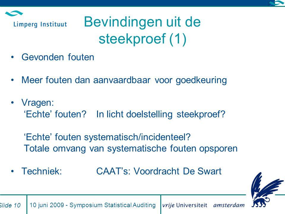 10 juni 2009 - Symposium Statistical Auditing Slide 10 Bevindingen uit de steekproef (1) Gevonden fouten Meer fouten dan aanvaardbaar voor goedkeuring