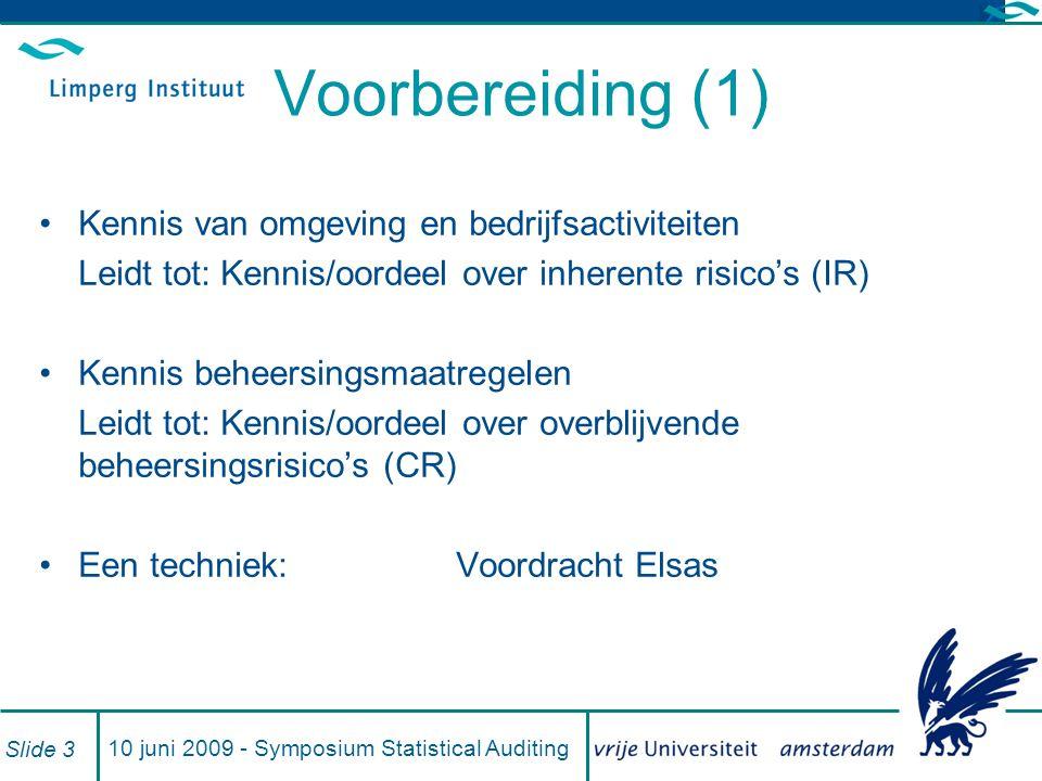 10 juni 2009 - Symposium Statistical Auditing Slide 3 Voorbereiding (1) Kennis van omgeving en bedrijfsactiviteiten Leidt tot: Kennis/oordeel over inh