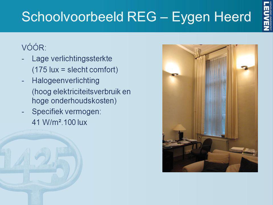 Schoolvoorbeeld REG – Eygen Heerd VÓÓR: -Lage verlichtingssterkte (175 lux = slecht comfort) -Halogeenverlichting (hoog elektriciteitsverbruik en hoge onderhoudskosten) -Specifiek vermogen: 41 W/m².100 lux