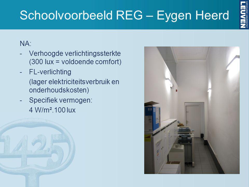 Schoolvoorbeeld REG – Eygen Heerd NA: -Verhoogde verlichtingssterkte (300 lux = voldoende comfort) -FL-verlichting (lager elektriciteitsverbruik en onderhoudskosten) -Specifiek vermogen: 4 W/m².100 lux