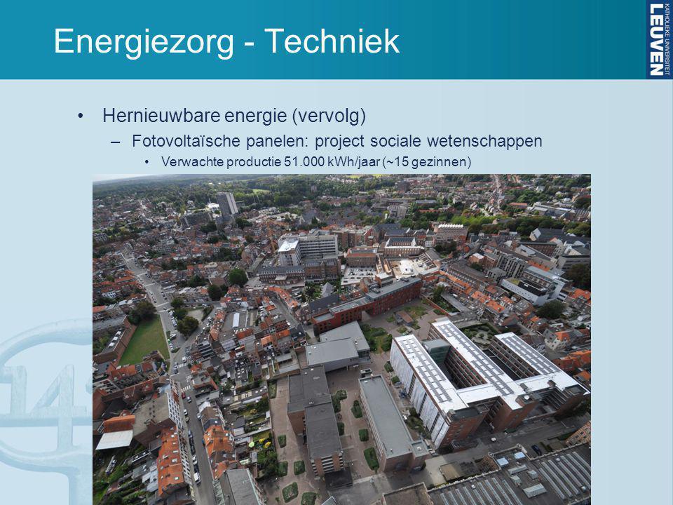 Energiezorg - Techniek Hernieuwbare energie (vervolg) –Fotovoltaïsche panelen: project sociale wetenschappen Verwachte productie 51.000 kWh/jaar (~15 gezinnen)