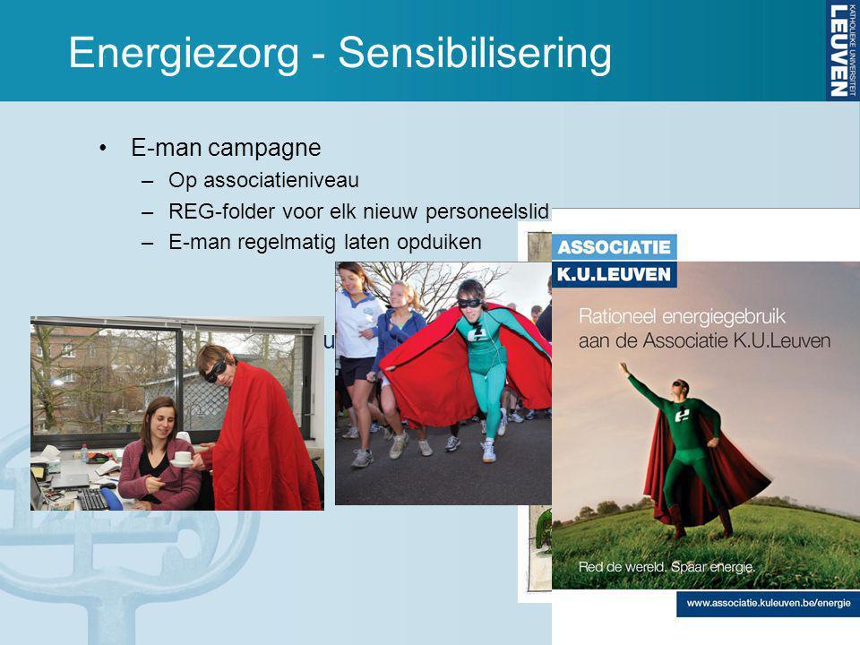 Energiezorg - Sensibilisering E-man campagne –Op associatieniveau –REG-folder voor elk nieuw personeelslid –E-man regelmatig laten opduiken website www.kuleuven.be/energie