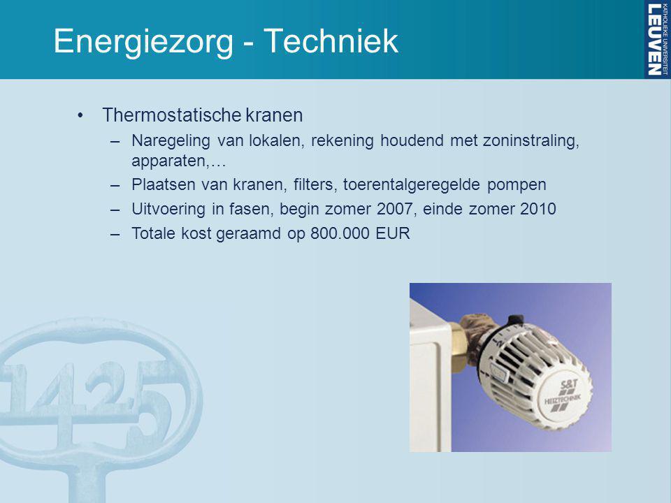 Energiezorg - Techniek Thermostatische kranen –Naregeling van lokalen, rekening houdend met zoninstraling, apparaten,… –Plaatsen van kranen, filters, toerentalgeregelde pompen –Uitvoering in fasen, begin zomer 2007, einde zomer 2010 –Totale kost geraamd op 800.000 EUR