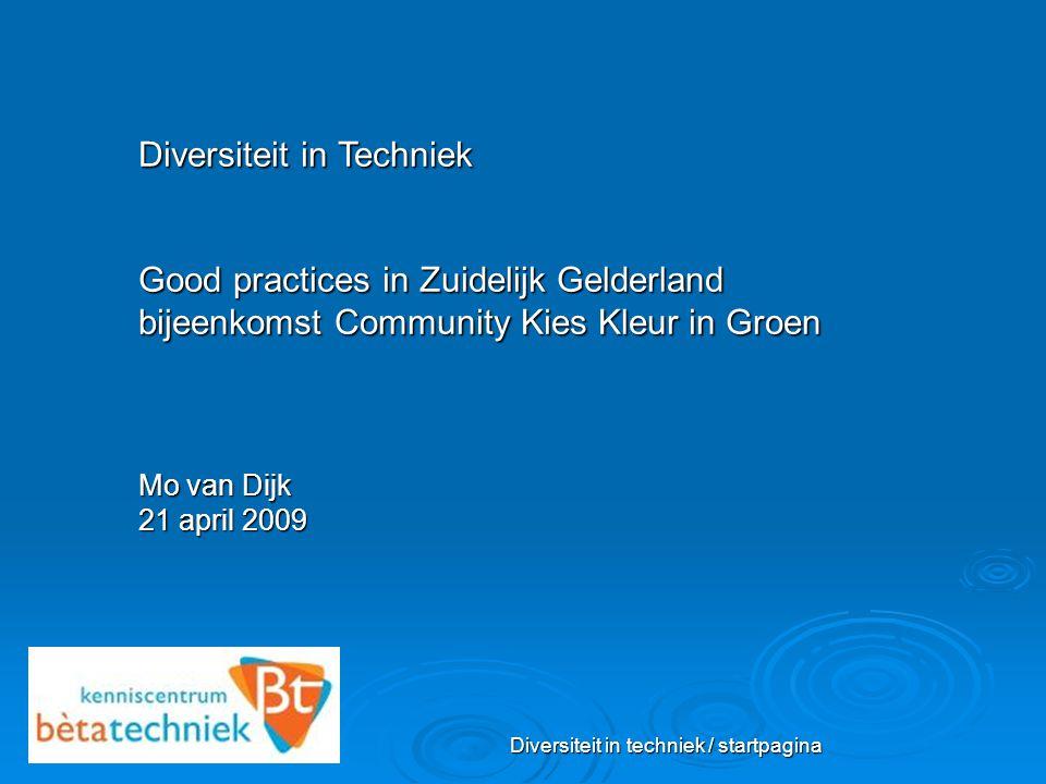 Diversiteit in techniek / startpagina Diversiteit in Techniek Good practices in Zuidelijk Gelderland bijeenkomst Community Kies Kleur in Groen Mo van