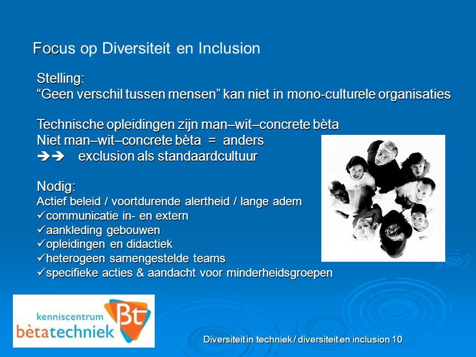 """Diversiteit in techniek / diversiteit en inclusion 10 Foc Focus op Diversiteit en Inclusion Stelling: """"Geen verschil tussen mensen"""" kan niet in mono-c"""