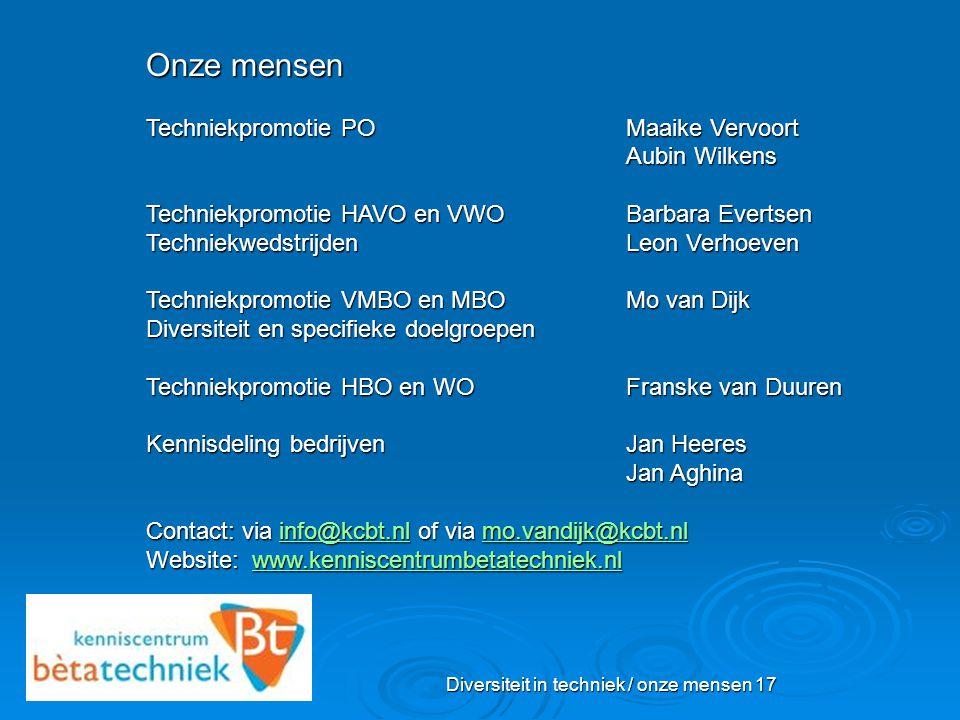 Diversiteit in techniek / onze mensen 17 Onze mensen Techniekpromotie POMaaike Vervoort Aubin Wilkens Techniekpromotie HAVO en VWO Barbara Evertsen Te