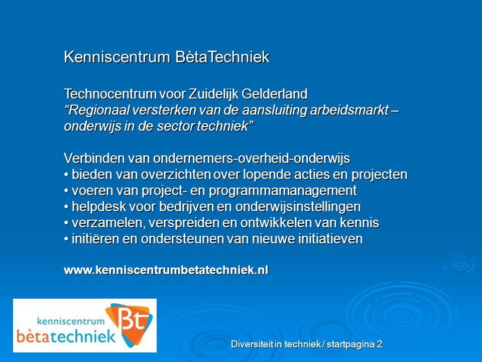 """Diversiteit in techniek / startpagina 2 Kenniscentrum BètaTechniek Technocentrum voor Zuidelijk Gelderland """"Regionaal versterken van de aansluiting ar"""