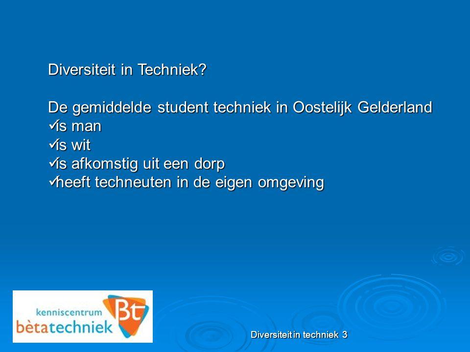 Diversiteit in techniek 3 Diversiteit in Techniek? De gemiddelde student techniek in Oostelijk Gelderland is man is man is wit is wit is afkomstig uit
