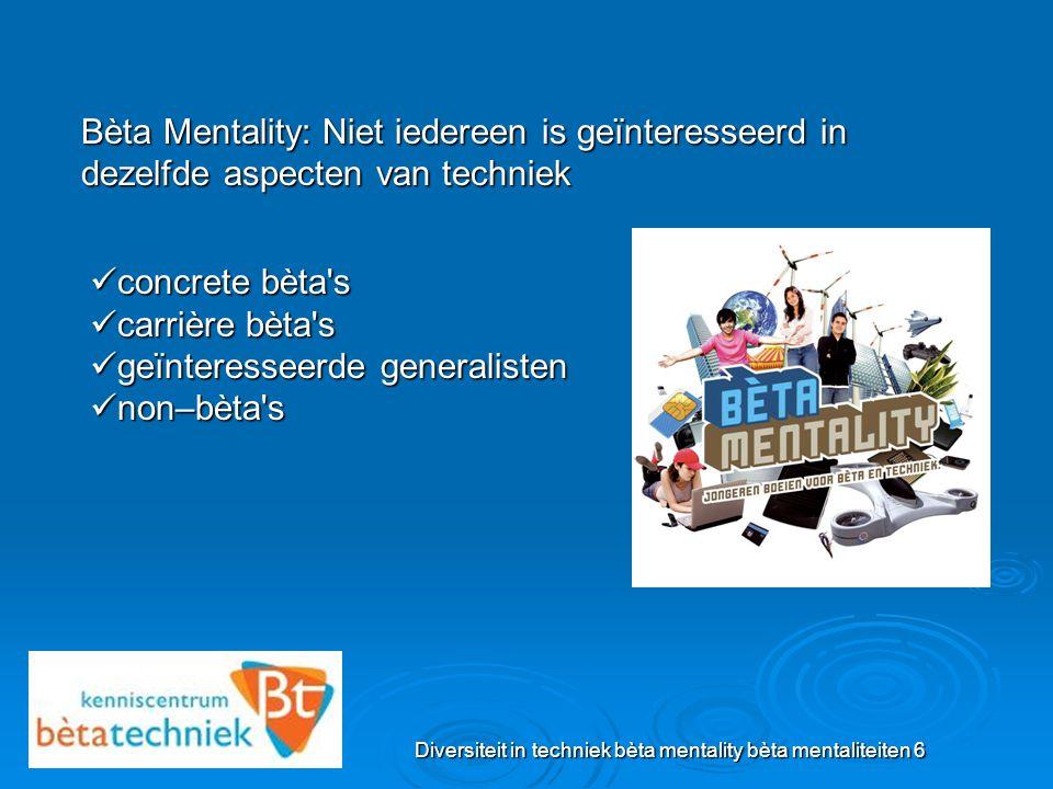Diversiteit in techniek bèta mentality bèta werelden 7 De 7 werelden van Bèta Mentality MARKET & MONEY WATER MOBILITEIT EN RUIMTE LIFESTYLE & DESIGN VOEDING & VITALITEIT SCIENCE & EXPLORATION ENERGIE & NATUUR