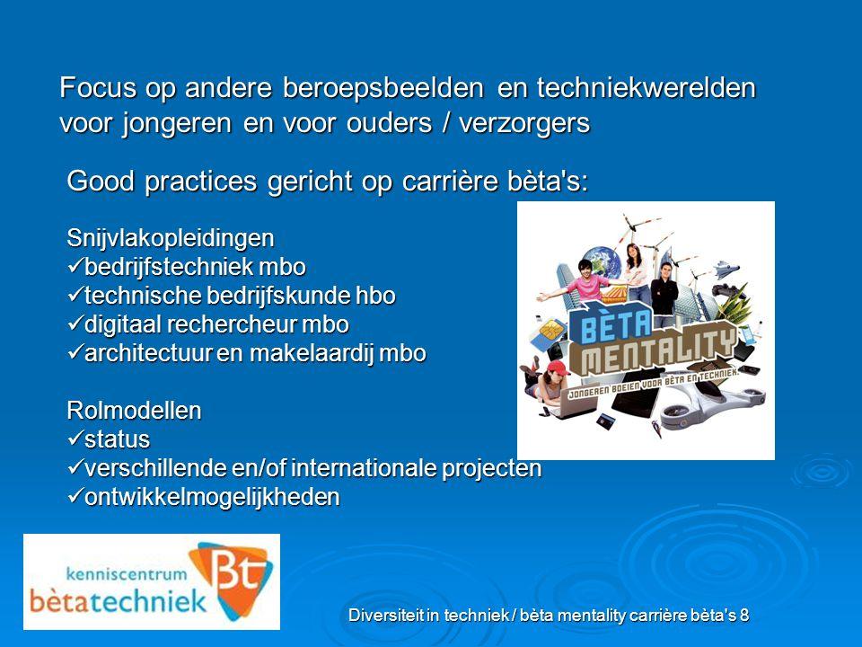 Diversiteit in techniek / bèta mentality carrière bèta's 8 Focus op andere beroepsbeelden en techniekwerelden voor jongeren en voor ouders / verzorger