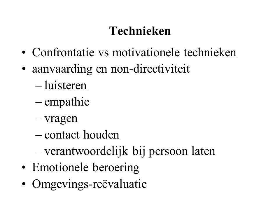 Technieken Confrontatie vs motivationele technieken aanvaarding en non-directiviteit –luisteren –empathie –vragen –contact houden –verantwoordelijk bi