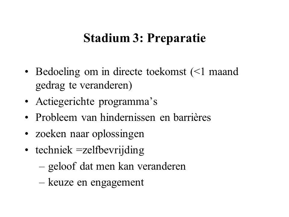 Stadium 3: Preparatie Bedoeling om in directe toekomst (<1 maand gedrag te veranderen) Actiegerichte programma's Probleem van hindernissen en barrière