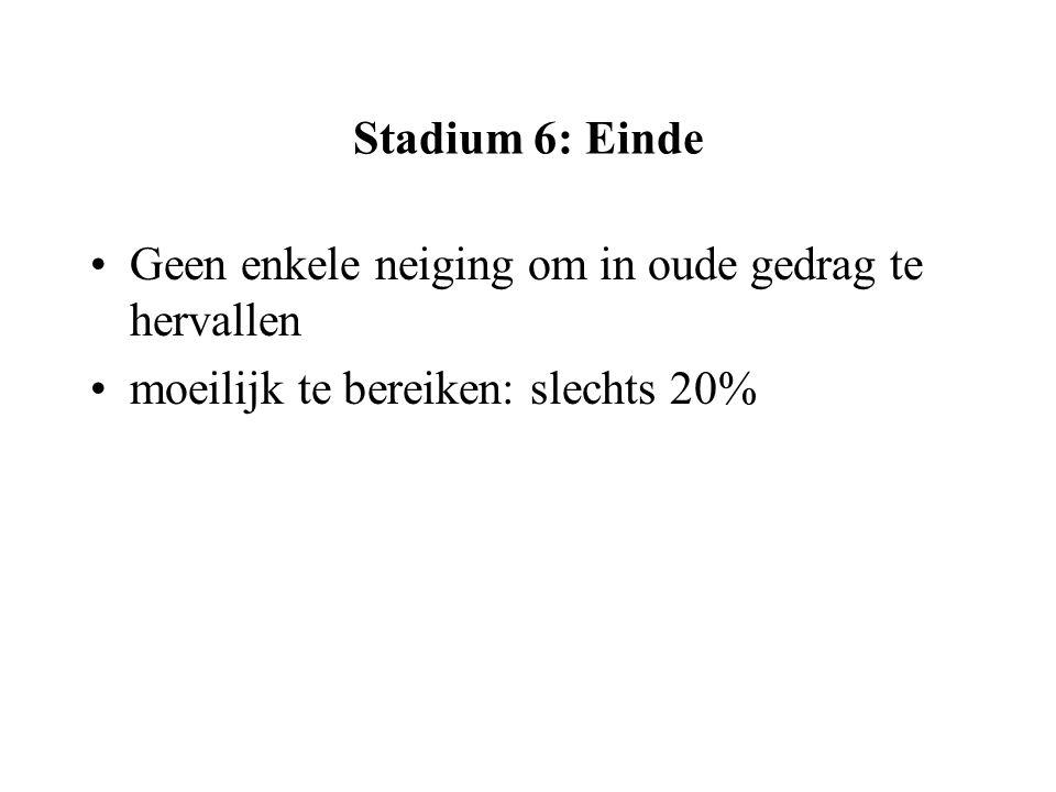 Stadium 6: Einde Geen enkele neiging om in oude gedrag te hervallen moeilijk te bereiken: slechts 20%