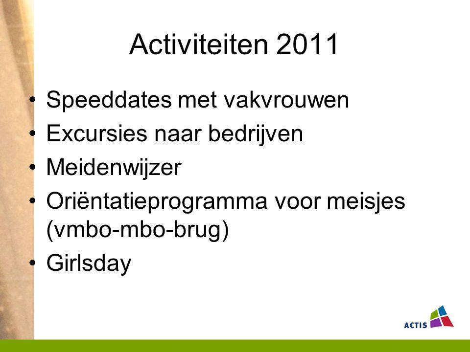 Activiteiten 2011 Speeddates met vakvrouwen Excursies naar bedrijven Meidenwijzer Oriëntatieprogramma voor meisjes (vmbo-mbo-brug) Girlsday