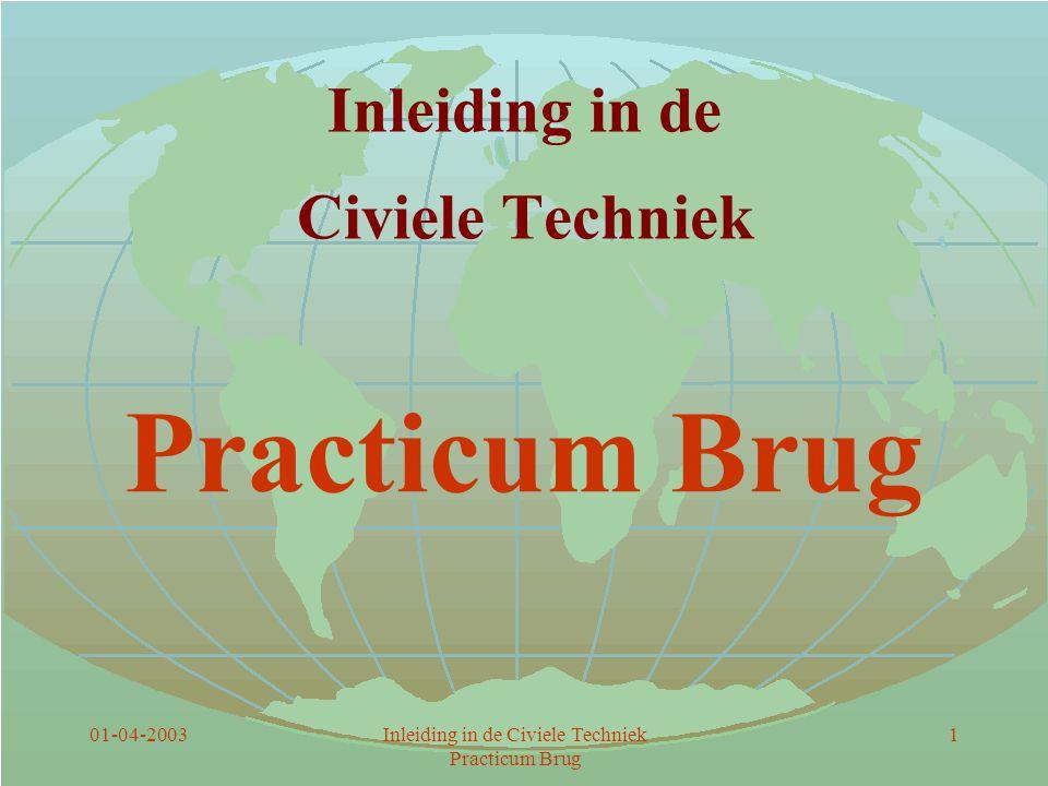01-04-2003Inleiding in de Civiele Techniek Practicum Brug 2 Inhoud De opdracht De proef Tijdsbesteding Bridge Designer Het verslag Aandachtspunten