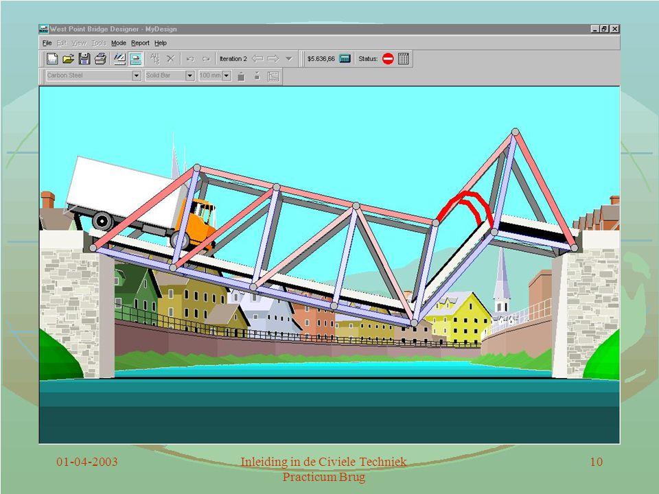 01-04-2003Inleiding in de Civiele Techniek Practicum Brug 11