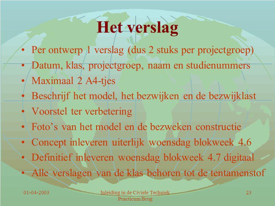 01-04-2003Inleiding in de Civiele Techniek Practicum Brug 23 Het verslag Per ontwerp 1 verslag (dus 2 stuks per projectgroep) Datum, klas, projectgroe
