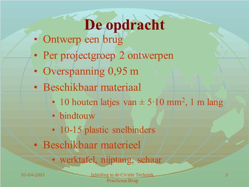 01-04-2003Inleiding in de Civiele Techniek Practicum Brug 3 De opdracht Ontwerp een brug Per projectgroep 2 ontwerpen Overspanning 0,95 m Beschikbaar