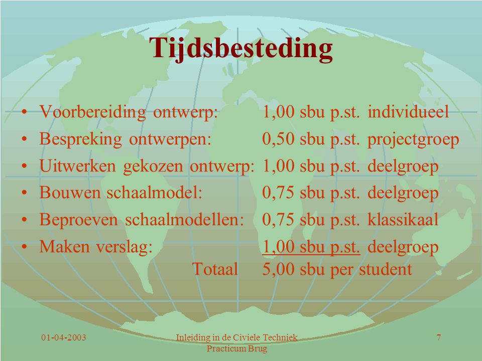 01-04-2003Inleiding in de Civiele Techniek Practicum Brug 7 Tijdsbesteding Voorbereiding ontwerp:1,00 sbu p.st.individueel Bespreking ontwerpen:0,50 s