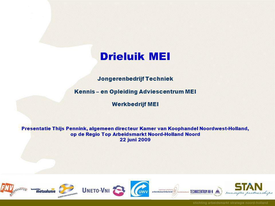 Drieluik MEI Jongerenbedrijf Techniek Kennis – en Opleiding Adviescentrum MEI Werkbedrijf MEI Presentatie Thijs Pennink, algemeen directeur Kamer van