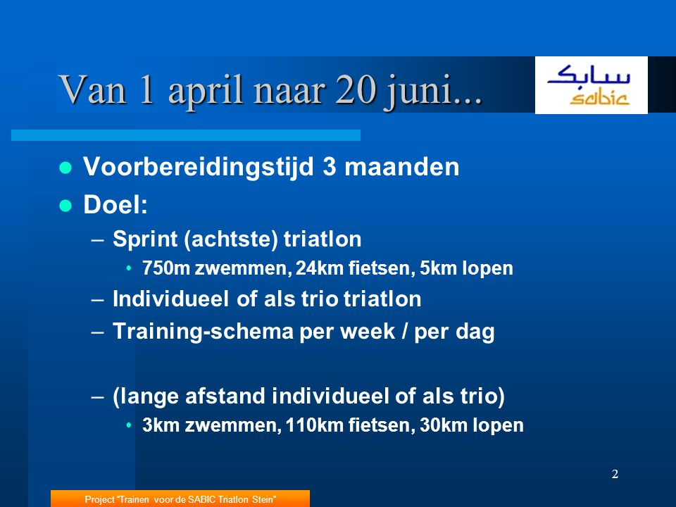 Project Trainen voor de SABIC Triatlon Stein 2 Van 1 april naar 20 juni...