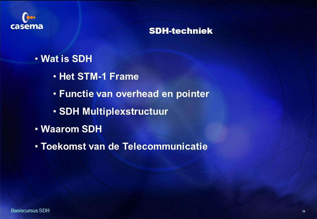 16 Basiscursus SDH Wat is SDH Het STM-1 Frame Functie van overhead en pointer SDH Multiplexstructuur Waarom SDH Toekomst van de Telecommunicatie SDH-techniek