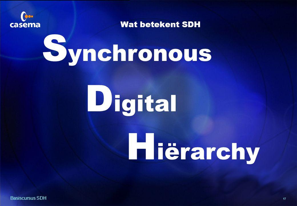 17 Basiscursus SDH S ynchronous D igital H iërarchy Wat betekent SDH