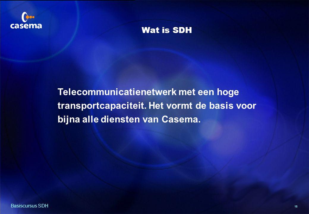 18 Basiscursus SDH Telecommunicatienetwerk met een hoge transportcapaciteit.