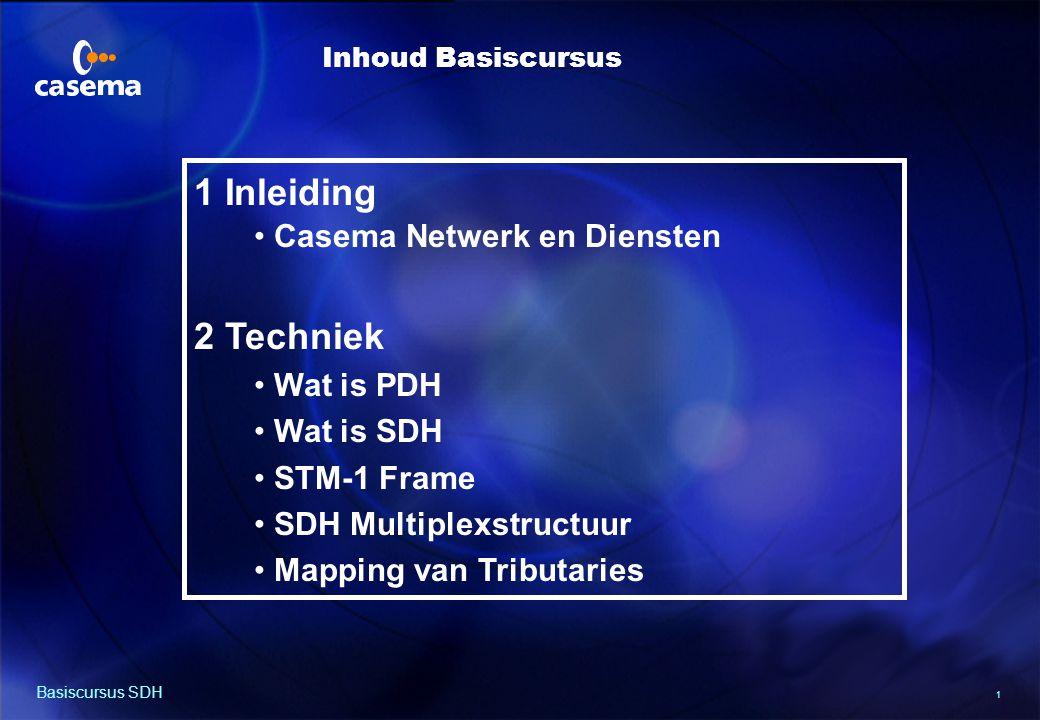 1 Basiscursus SDH 1 Inleiding Casema Netwerk en Diensten 2 Techniek Wat is PDH Wat is SDH STM-1 Frame SDH Multiplexstructuur Mapping van Tributaries Inhoud Basiscursus