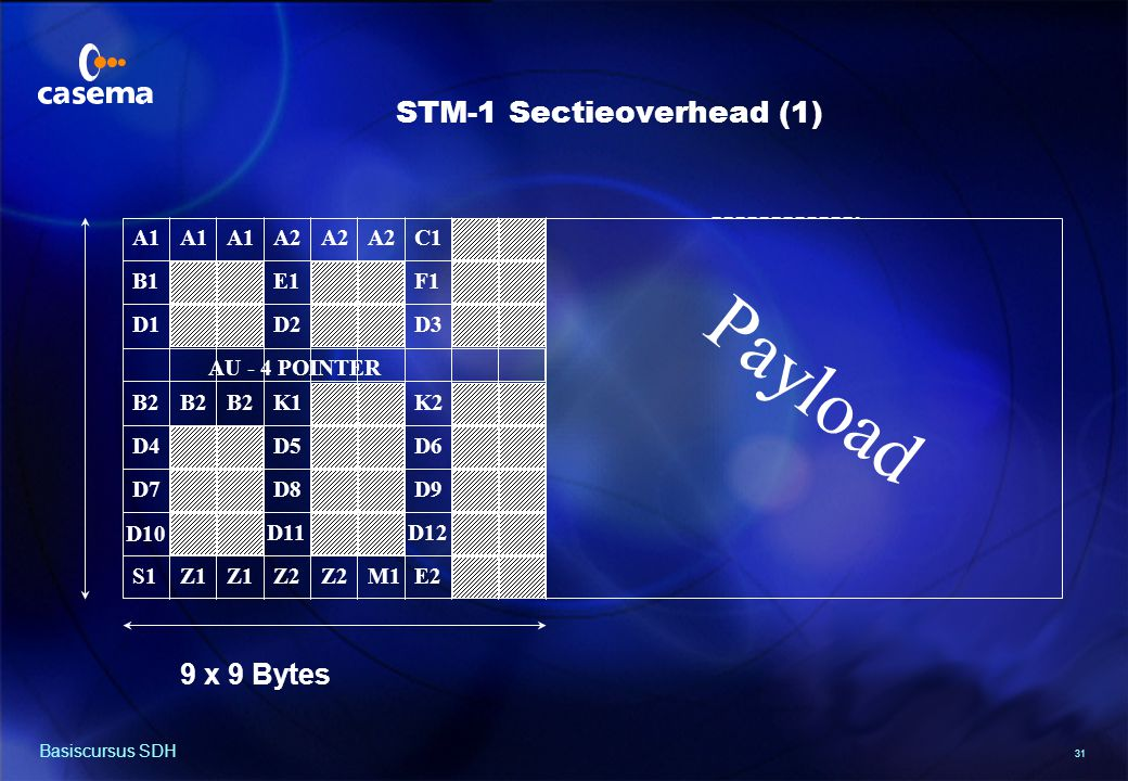 31 Basiscursus SDH A1 A2A1 F1 C1 B1 A2 D3D1D2 E1 B2 D10 D9D8D7 D6D5D4 K2K1B2 D11D12 E2M1Z1 S1Z2 9 x 9 Bytes Payload AU - 4 POINTER STM-1 Sectieoverhead (1)