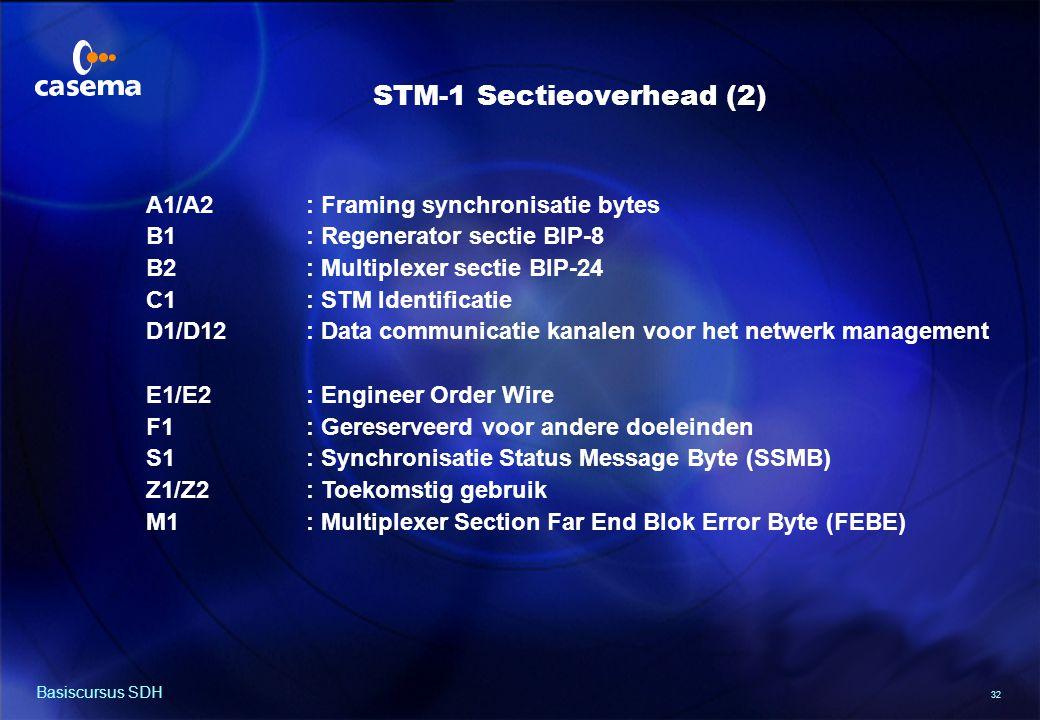 32 Basiscursus SDH A1/A2: Framing synchronisatie bytes B1: Regenerator sectie BIP-8 B2: Multiplexer sectie BIP-24 C1: STM Identificatie D1/D12: Data communicatie kanalen voor het netwerk management E1/E2: Engineer Order Wire F1: Gereserveerd voor andere doeleinden S1: Synchronisatie Status Message Byte (SSMB) Z1/Z2: Toekomstig gebruik M1: Multiplexer Section Far End Blok Error Byte (FEBE) STM-1 Sectieoverhead (2)