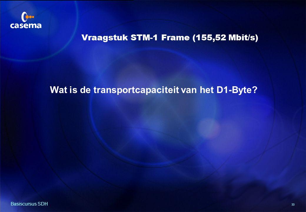 33 Basiscursus SDH Wat is de transportcapaciteit van het D1-Byte.