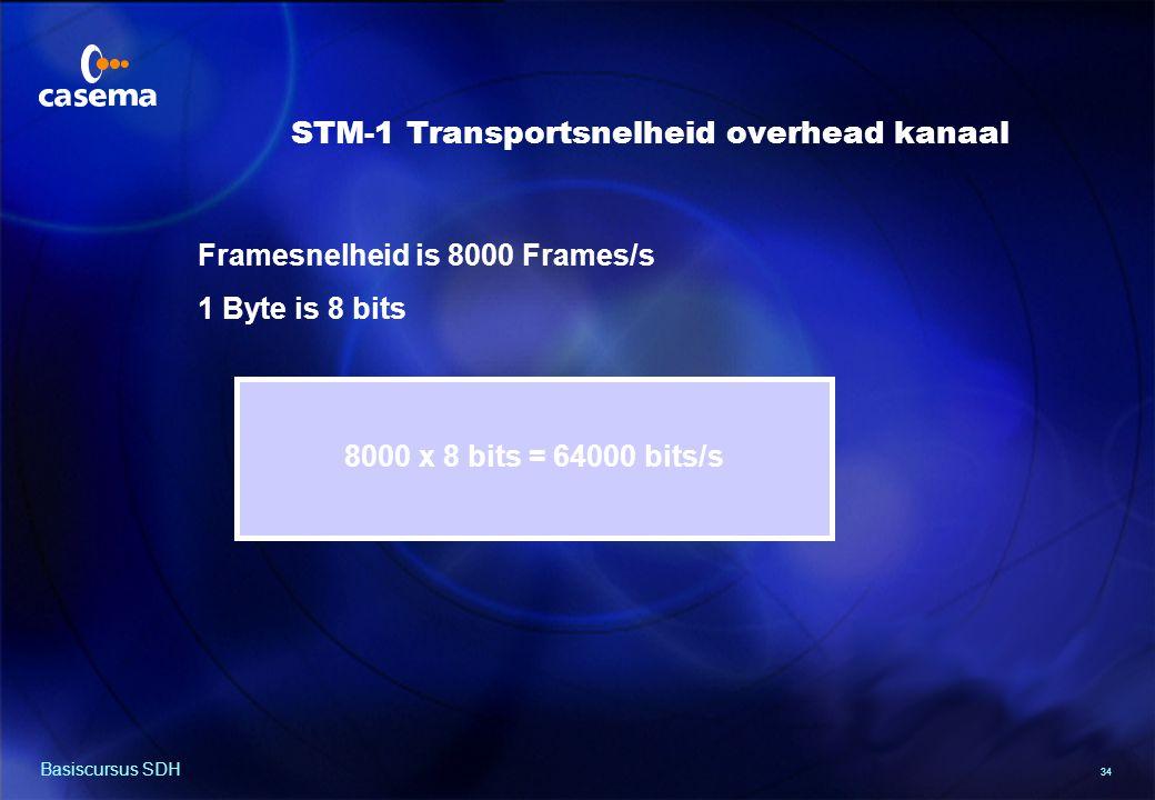 34 Basiscursus SDH Framesnelheid is 8000 Frames/s 1 Byte is 8 bits 8000 x 8 bits = 64000 bits/s STM-1 Transportsnelheid overhead kanaal