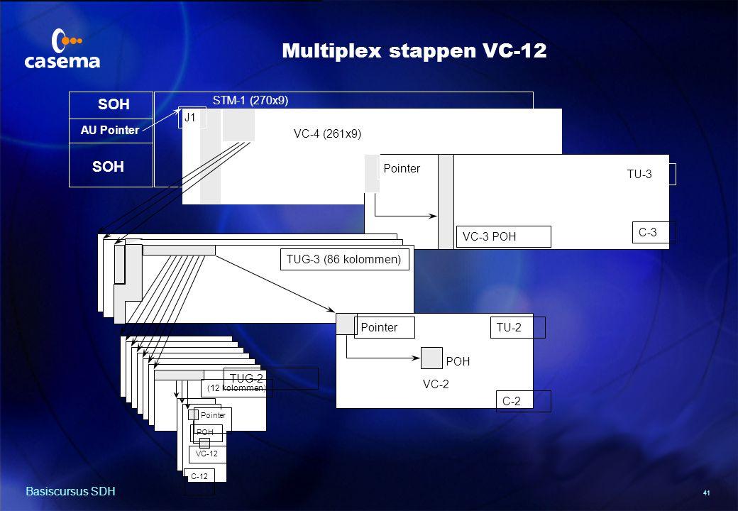 41 Basiscursus SDH AU Pointer SOH J1 STM-1 (270x9) VC-4 (261x9) TUG-3 (86 kolommen) TU-3 Pointer VC-3 POH C-3 TUG-2 C-12 Pointer POH VC-12 Pointer POH VC-2 C-2 TU-2 (12 kolommen) Multiplex stappen VC-12