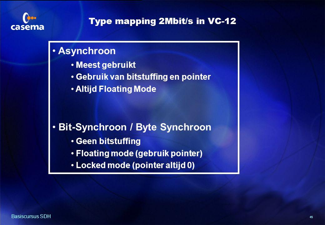 45 Basiscursus SDH Asynchroon Meest gebruikt Gebruik van bitstuffing en pointer Altijd Floating Mode Bit-Synchroon / Byte Synchroon Geen bitstuffing Floating mode (gebruik pointer) Locked mode (pointer altijd 0) Type mapping 2Mbit/s in VC-12