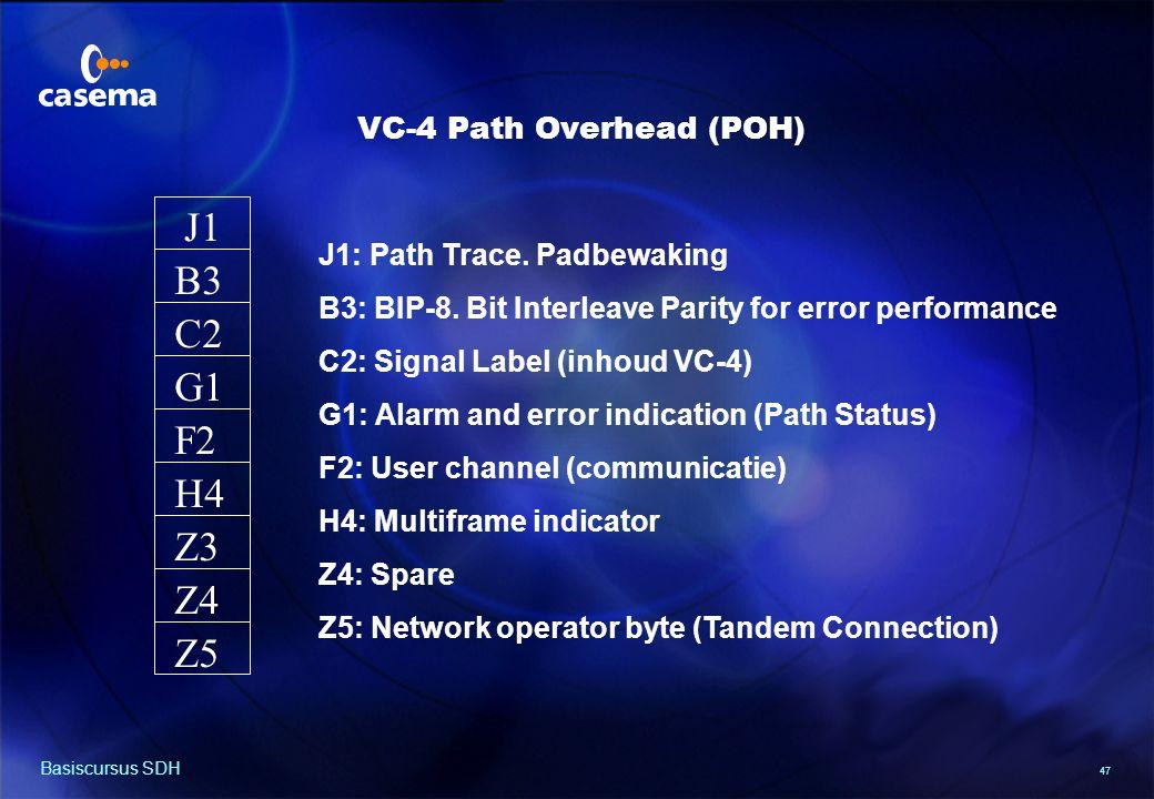 47 Basiscursus SDH J1 B3 F2 G1 C2 H4 Z3 Z4 Z5 J1: Path Trace.