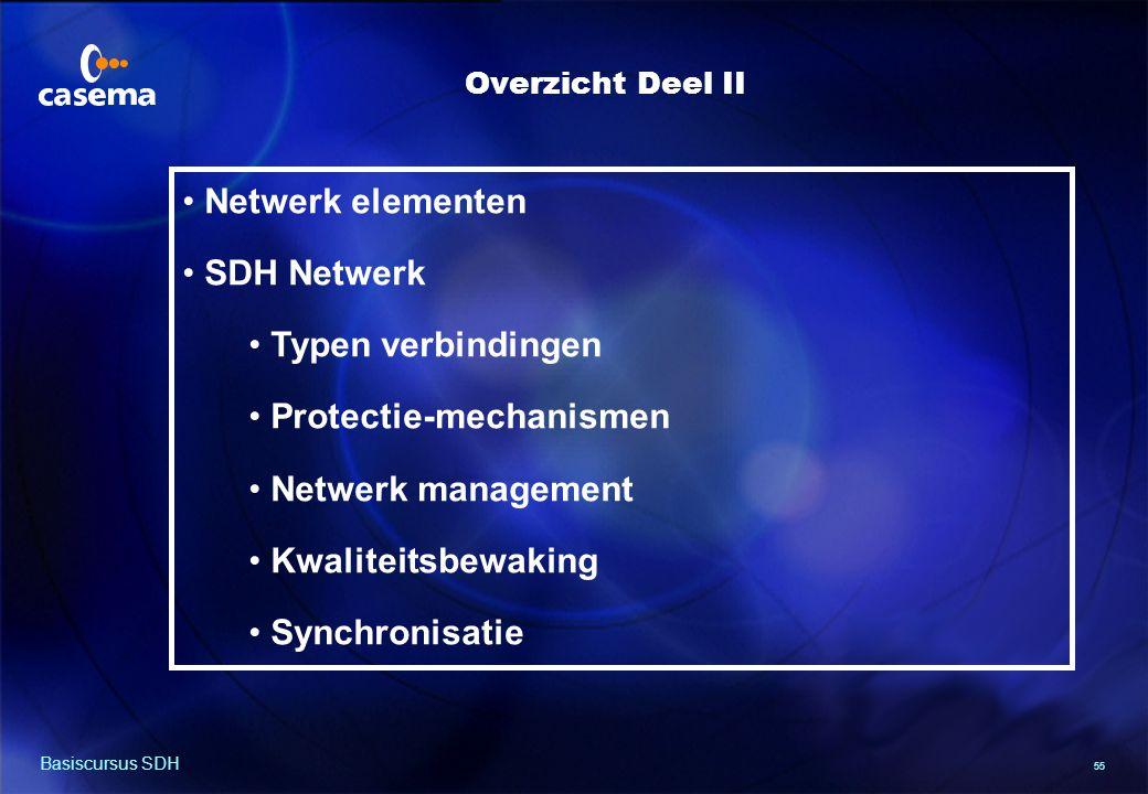 55 Basiscursus SDH Netwerk elementen SDH Netwerk Typen verbindingen Protectie-mechanismen Netwerk management Kwaliteitsbewaking Synchronisatie Overzicht Deel II