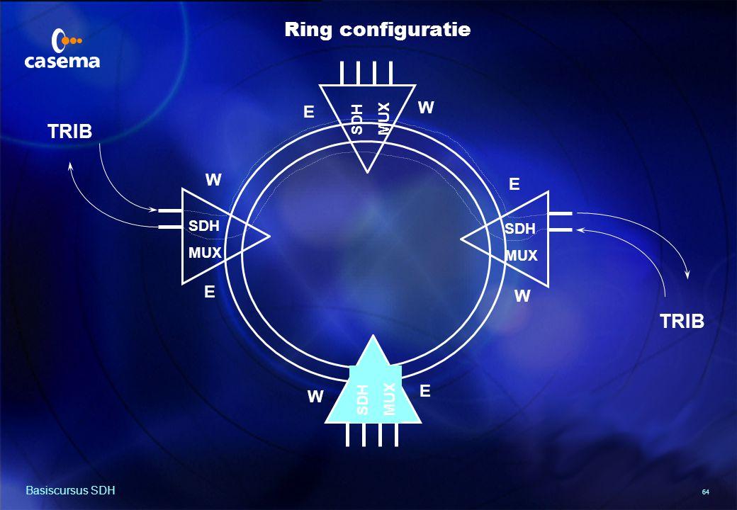 64 Basiscursus SDH TRIB SDH MUX SDH MUX TRIB SDH MUX SDH MUX E W E W E W E W Ring configuratie