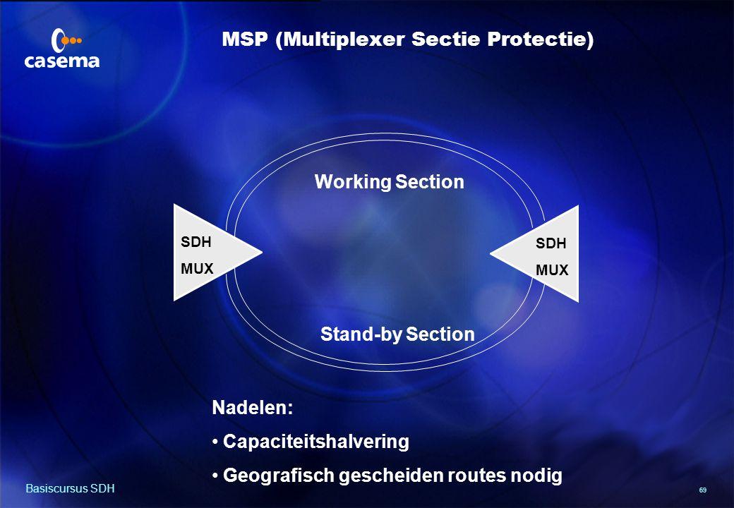 69 Basiscursus SDH SDH MUX SDH MUX Nadelen: Capaciteitshalvering Geografisch gescheiden routes nodig Working Section Stand-by Section MSP (Multiplexer Sectie Protectie)