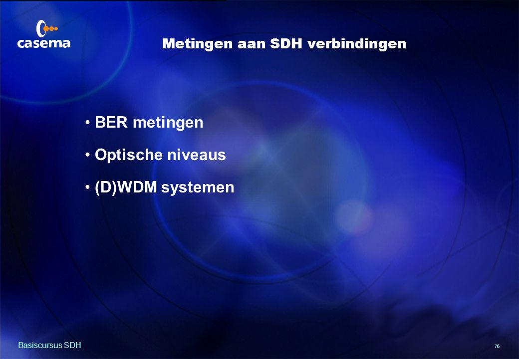 76 Basiscursus SDH BER metingen Optische niveaus (D)WDM systemen Metingen aan SDH verbindingen