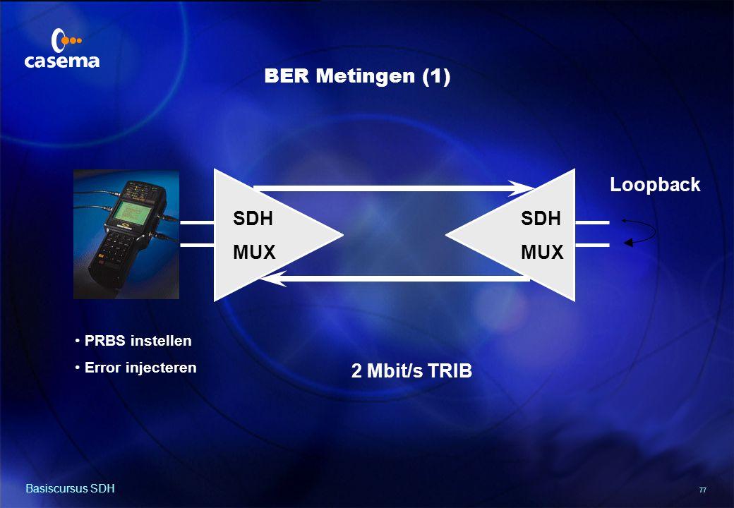 77 Basiscursus SDH BER Metingen (1) SDH MUX SDH MUX 2 Mbit/s TRIB Loopback PRBS instellen Error injecteren
