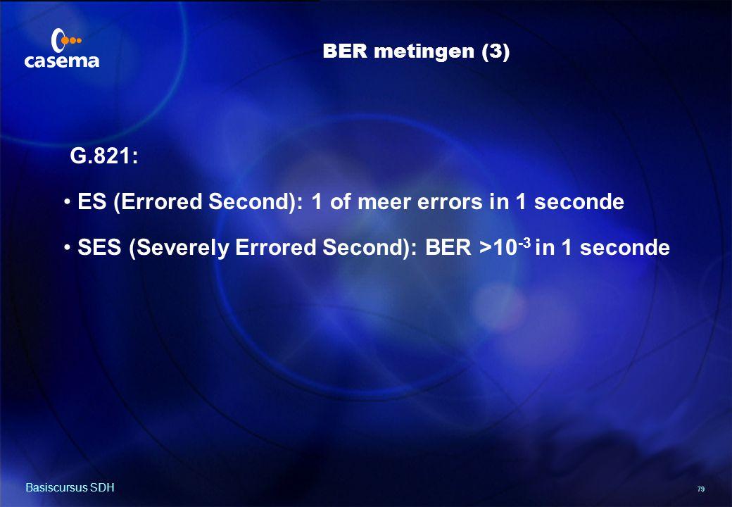 79 Basiscursus SDH BER metingen (3) G.821: ES (Errored Second): 1 of meer errors in 1 seconde SES (Severely Errored Second): BER >10 -3 in 1 seconde