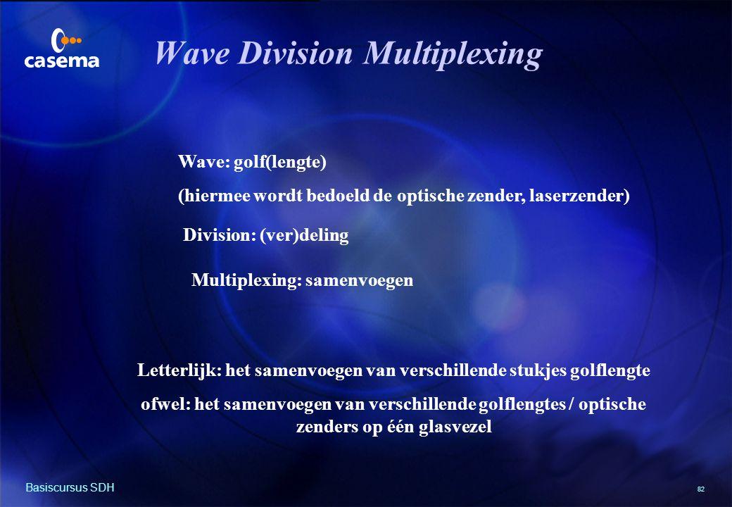 82 Basiscursus SDH Wave Division Multiplexing Wave: golf(lengte) (hiermee wordt bedoeld de optische zender, laserzender) Division: (ver)deling Multiplexing: samenvoegen Letterlijk: het samenvoegen van verschillende stukjes golflengte ofwel: het samenvoegen van verschillende golflengtes / optische zenders op één glasvezel