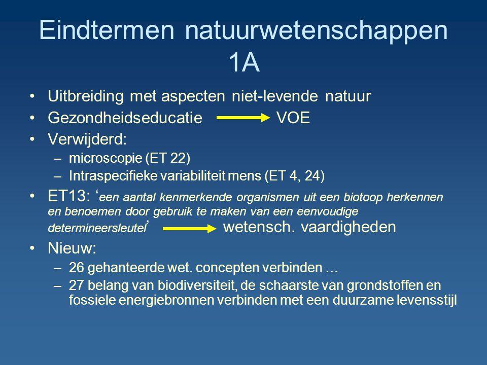 Eindtermen natuurwetenschappen 1A Uitbreiding met aspecten niet-levende natuur Gezondheidseducatie VOE Verwijderd: –microscopie (ET 22) –Intraspecifie