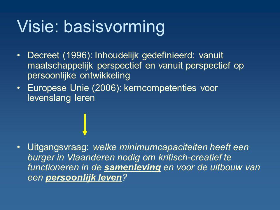 Visie: basisvorming Decreet (1996): Inhoudelijk gedefinieerd: vanuit maatschappelijk perspectief en vanuit perspectief op persoonlijke ontwikkeling Eu