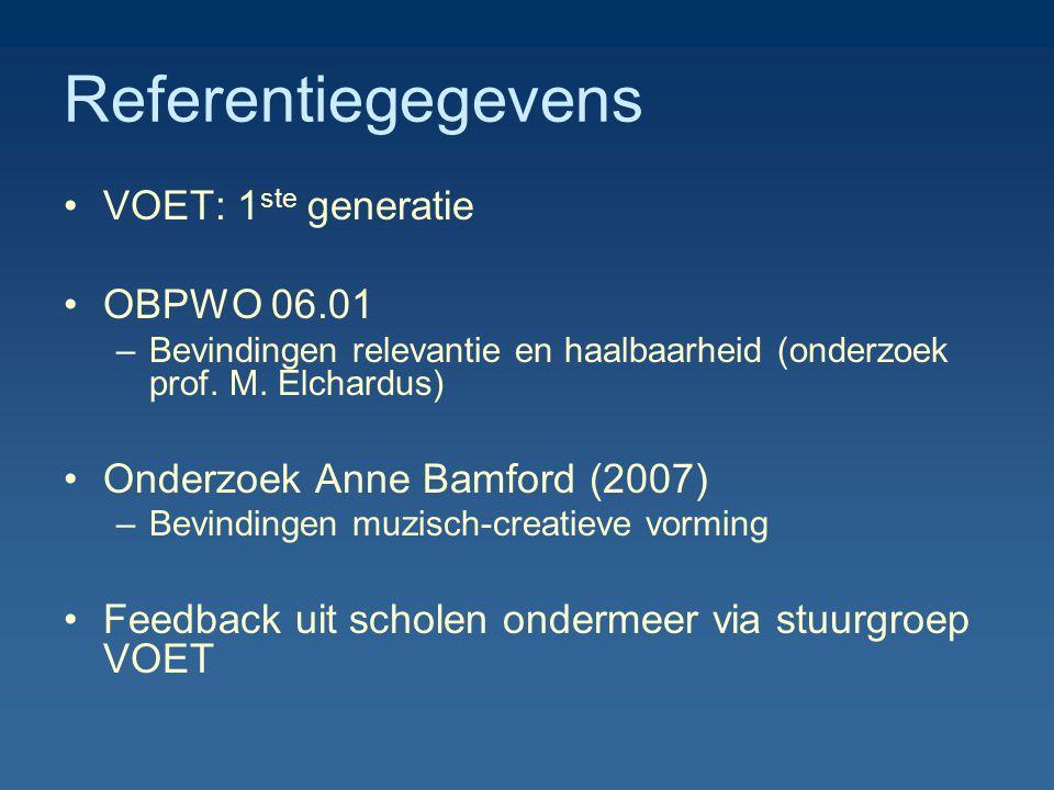 Referentiegegevens VOET: 1 ste generatie OBPWO 06.01 –Bevindingen relevantie en haalbaarheid (onderzoek prof. M. Elchardus) Onderzoek Anne Bamford (20