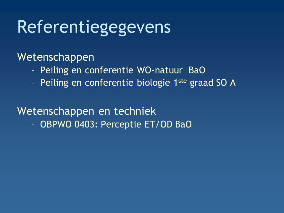 Referentiegegevens Wetenschappen –Peiling en conferentie WO-natuur BaO –Peiling en conferentie biologie 1 ste graad SO A Wetenschappen en techniek –OBPWO 0403: Perceptie ET/OD BaO